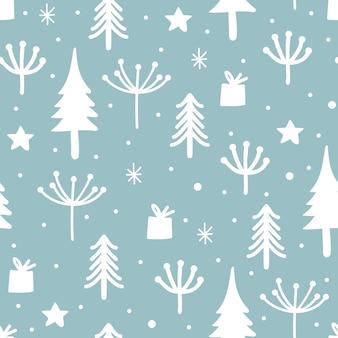 Christmas pattern with scandinavian winter theme drawing