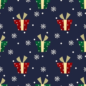 Christmas pattern with snow and gifts