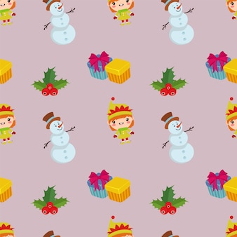 Christmas pattern with snowman flat style