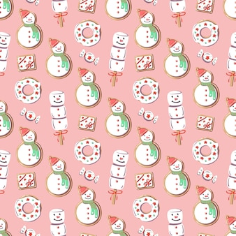 Christmas pattern with snowman. new year sweets on pink background