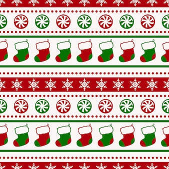 Christmas pattern with socks and candy seamless background
