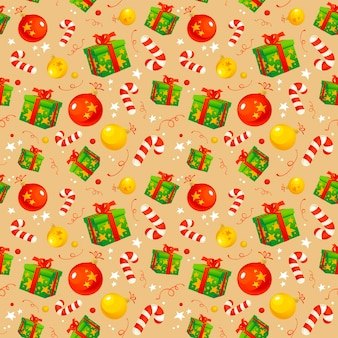 Christmas pattern with traditional symbols and gifts, wrapping paper
