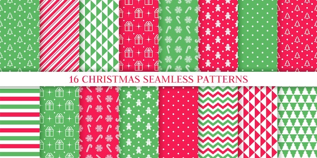 クリスマスのパターン。クリスマス新年のテクスチャ。ツリー、キャンディケインストライプと休日のシームレスな背景。