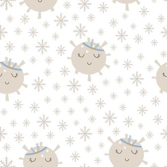 Christmas patterns collection scandinavian hand drawn seamless print new year christmas