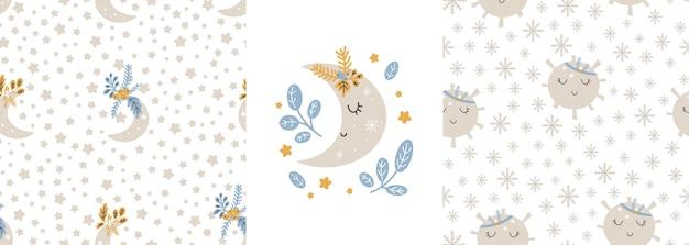 Christmas patterns collection scandinavian hand drawn seamless print. new year digital paper