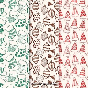 세 가지 색상 변형의 크리스마스 패턴