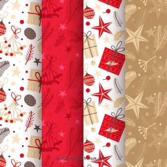 Christmas patterns in red, beige and white Free Vector