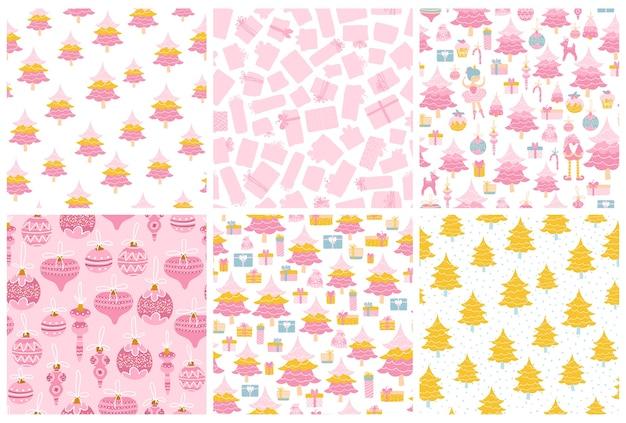クリスマスパターンセット。パステルピンク色のシームレスな背景のコレクション。クリスマス