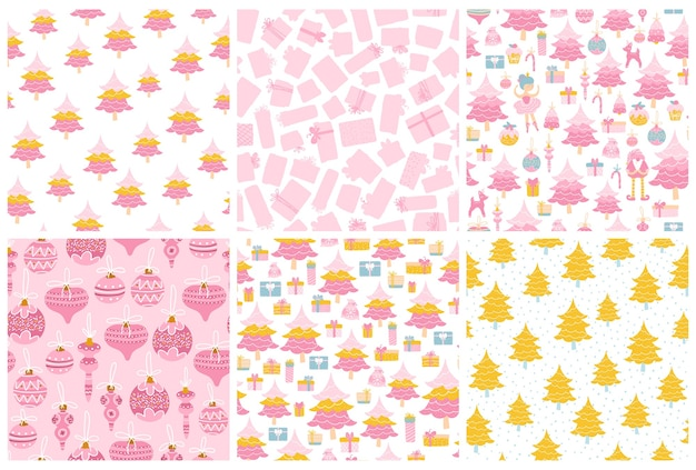 Christmas patterns set. collection of seamless backgrounds in pastel pink colors. christmas