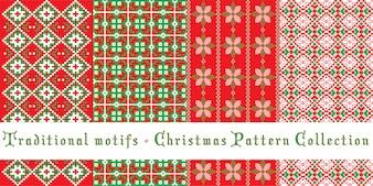 Christmas patterns set - traditional motifs