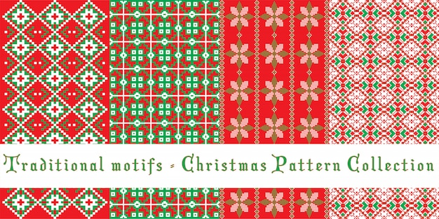 Christmas patterns set - traditional motifs
