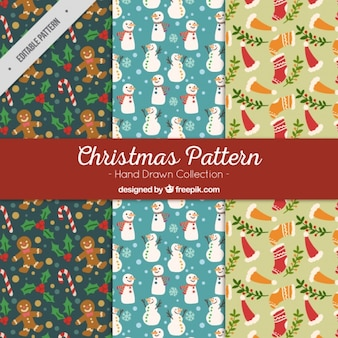 Christmas patterns with hand-drawn items