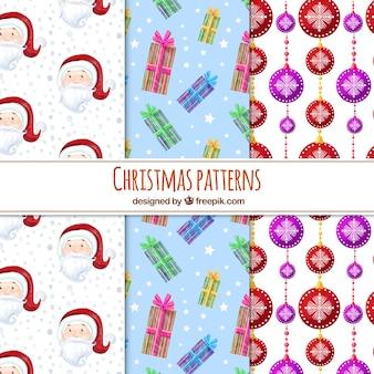 Рождественские узоры с санта, подарки и блесна