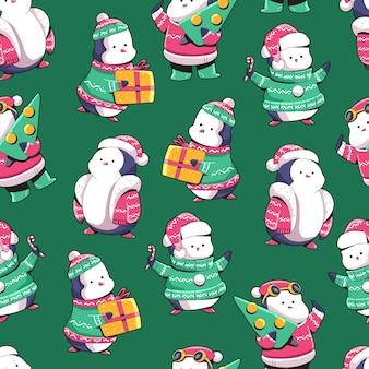 クリスマスペンギンの漫画の壁紙、ラッピング、パッキング、および背景のシームレスなパターンの背景。