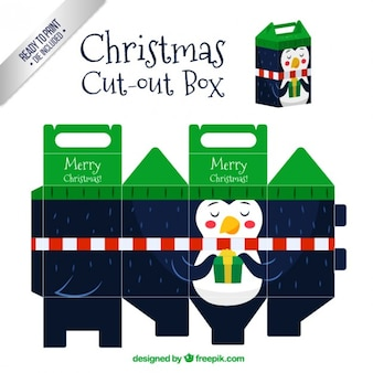 Christmas penguin cut out box