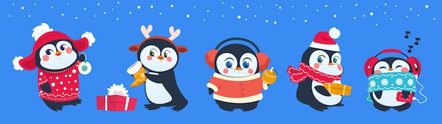 Christmas penguin. funny snow animals, cute baby penguins cartoon characters in winter hat with gift box and balls.