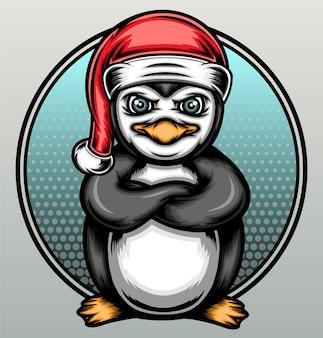 クリスマスペンギンのイラスト。