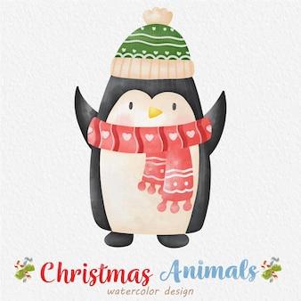 紙の背景とクリスマスペンギンの水彩イラスト