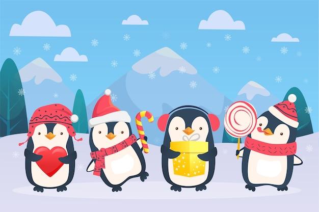 Christmas penguins cartoon illustration
