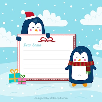Christmas penguins with blank sign