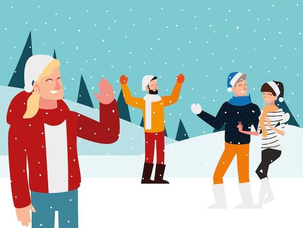 Christmas people celebrating in the snow landscape design illustration