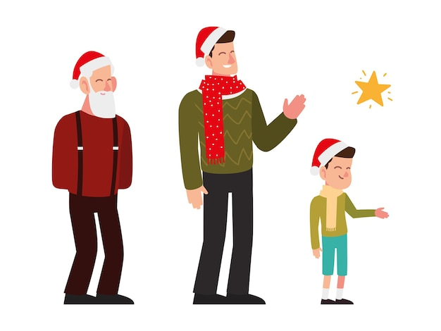 Christmas people, gradnfather dad and son celebrating season party illustration