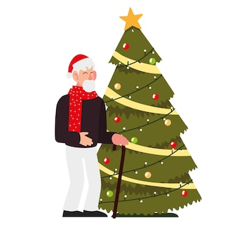 Christmas people, old man with walk stick and decorative tree celebrating season party illustration