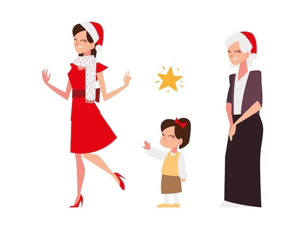 Christmas people, woman grandma and girl celebrating season party illustration