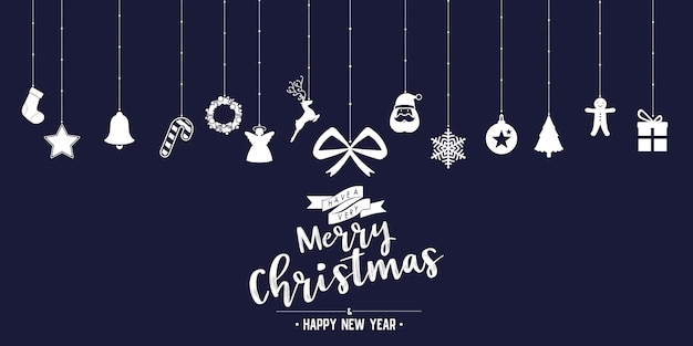 Christmas phase text and star with santa beard and ornaments with symbol design on background