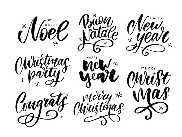 Christmas phases lettering set