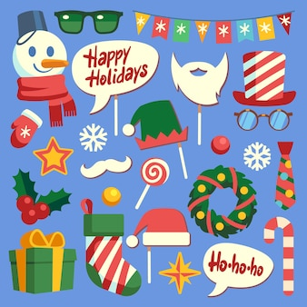 Christmas photo booth. holiday props santa hat and beard, glasses and gift box. face mask and elf hats, snowman and snowflakes  new year nice decoration set