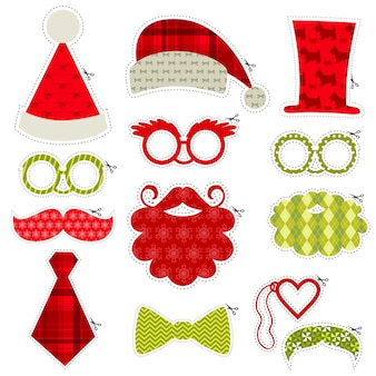 Christmas photo booth party set  glasses