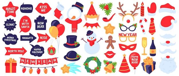 Реквизит для новогодней фотобудки. новогодняя вечеринка, праздничные элементы декора. маски, шляпы и борода, снеговик, подарки, набор векторных чулок. рождественская будка, борода и усы, иллюстрация снежинки
