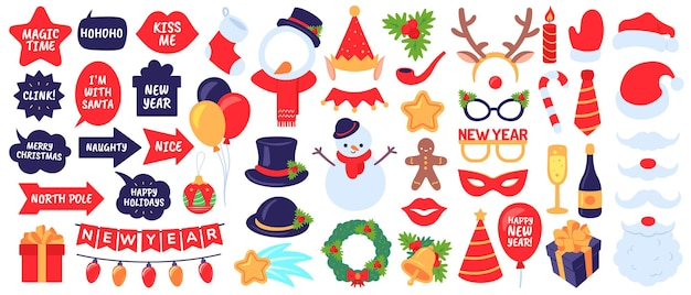 Christmas photo booth props. new year party, holiday decorative elements. masks, hats and beard, snowman, gifts, stocking vector set. christmas booth, beard and mustache, snowflake illustration