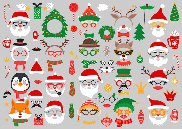Christmas photo booth props and scrapbooking set