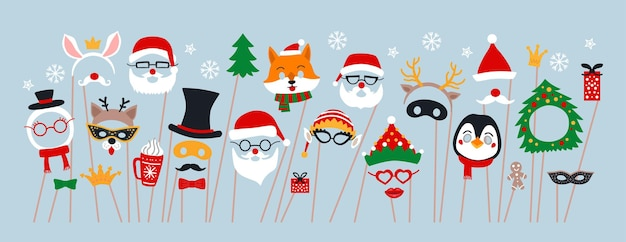Christmas photo booth props and scrapbooking vector set. party decoration with santa, deer, elf, snowman.