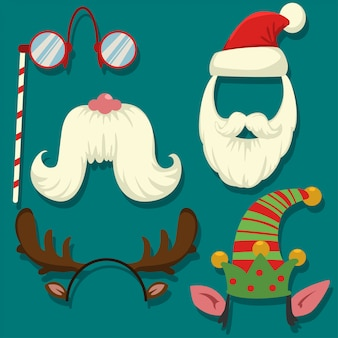 Christmas photo booth props vector cartoon set. carnival masks for parties: cap and beard of santa claus and elf, reindeer antlers, overhead goggles and mustache.