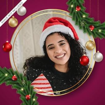 松の枝と赤いクリスマスボールのクリスマスフォトフレーム装飾