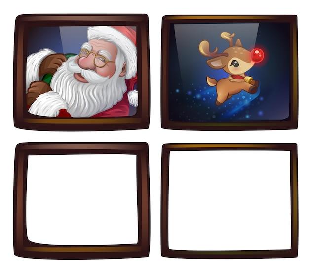 Рождественские фоторамки. изолированные на белом