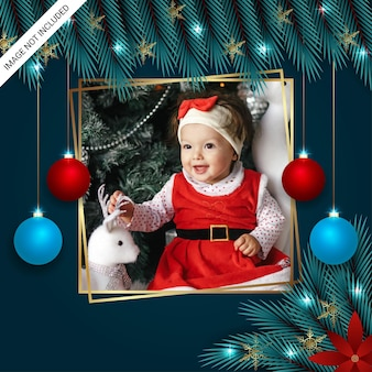 Christmas photo freme christmas leaf golden snowflakes christmas balls and christmas lights