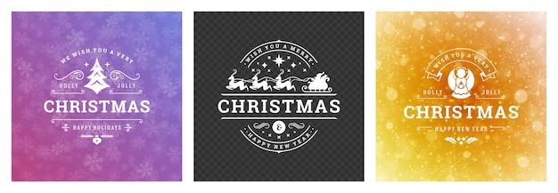 Рождественские фото наложены на винтажный типографский дизайн, декоративные символы с пожеланиями зимних праздников, цветочные орнаменты и процветающие рамки