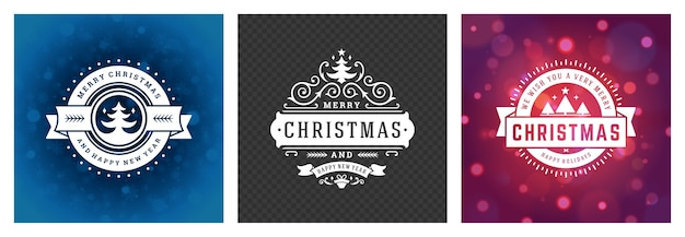 Christmas photo overlays vintage typographic design, ornate decorations symbols with winter holidays wishes, floral ornaments and flourish frames
