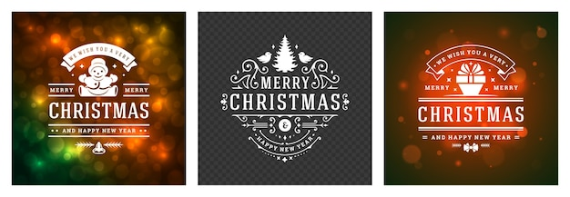 Christmas photo overlays vintage typographic , ornate decorations symbols with winter holidays wishes, floral ornaments and flourish frames.