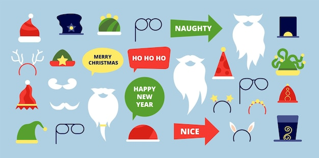 Christmas photo props. event accessories, photobooth holiday festival elements. new year xmas santa beard moustache hat vector illustration. christmas photo booth party, xmas photobooth