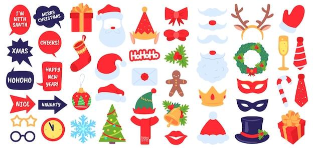 クリスマスの写真の小道具。新年会、仮面舞踏会の装飾が施されたサンタの帽子とあごひげの写真ブース。エルフの帽子、ギフト、クリスマスの靴下のベクトルを設定します。封筒、モミの木、ヒイラギの果実などのアクセサリーと装飾