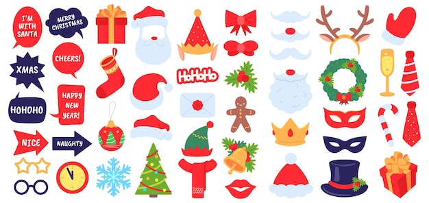 Christmas photo props. new year party, photo booth with masquerade decor santa hat and beard. elf hat, gift, xmas stocking vector set. accessories and decoration as envelope, fir tree, holly berry