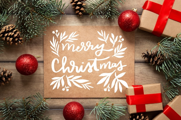 Christmas photo with lettering and gifts