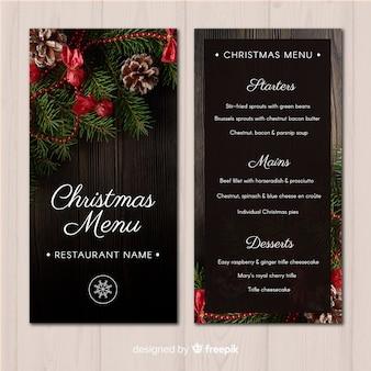 Christmas photograph menu template