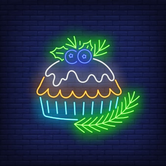 Christmas pie in neon style