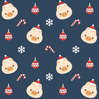 Рождественские свиньи бесшовные фон картины
